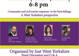 Meet our Editor at the Q&A on community and civil society responses to Paris Killings, organised by Just West Yorkshire