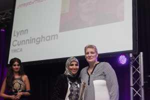 BIWA 2015 Employee Lynn Cunningham with Salma Yaqoob