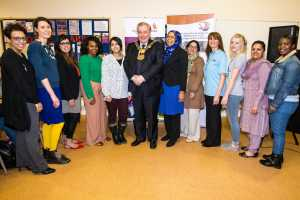 Lord Mayor Cllr Mike Gibbons with Speakers and Stall Members - womenzone event