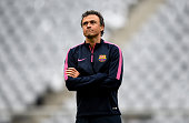 MUNICH, GERMANY - MAY 11: Had coach Luis Enrique looks on during a FC Barcelona training session on the eve of the UEFA Champions League semi final second leg match against FC Barcelona at Allianz Arena on May 11, 2015 in Munich, Germany.  (Photo by Lars Baron/Bongarts/Getty Images,)
