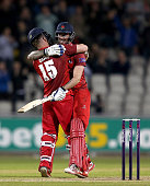 MANCHESTER, ENGLAND - MAY 15:  Steven Croft of Lancashire celebrates hitting the winning runs off the last ball with team mate Jordan Clark during the NatWest T20 Blast match between Lancashire and Leicestershire at Old Trafford on May 15, 2015 in Manchester, England.  (Photo by Jan Kruger/Getty Images)