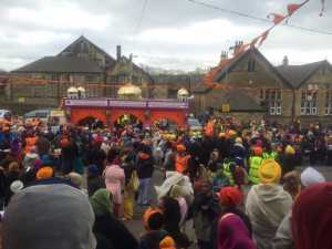 Procession arriving at Wakefield Road Gurdwara