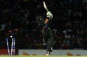 Pakistan's Mohammad Rizwan gets dismissed during the second Twenty20 International cricket match between Sri Lanka and Pakistan at the R. Premadasa International Cricket Stadium in Colombo on August 1, 2015. AFP PHOTO / LAKRUWAN WANNIARACHCHI