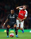 LONDON, ENGLAND - AUGUST 24: Nathaniel Clyne of Liverpool battles for the ball with Aaron Ramsey of Arsenal during the Barclays Premier League match between Arsenal and Liverpool at the Emirates Stadium on August 24, 2015 in London, United Kingdom. (Photo by Clive Mason/Getty Images) *** Local Caption *** Nathaniel Clyne; Aaron Ramsey