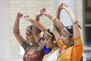 Pictured: Hindu dancers perform for the audience.