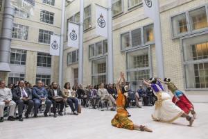 Pictured: Hindu dancers perform for the audience. The Hindu Festival, Raksha Bhandan was held at the Ministry of Defence Main Building in London on 27th August 2015. There were musical and dancing performances by local Hindu artists and talks by Lieutenant General Gregory, Chief of Defence Personnel and the Chairman of the Armed Forces Hindu Network, Lieutenant Commander Manish Tayal and also by the National Hindu Studenst Forum and the City Hindus Network. Rakhi wrist bands were tied around the wrists of serving personnel to represent and reinforce bonds of friendship, mutual protection and support. Hindus and non-Hindus from the Armed Forces got together with local communities across the UK this week to celebrate Raksha Bandhan; a major Hindu festival that celebrates the bonds of protection that exist within society. For UK Armed Forces Hindus, Raksha Bandhan holds a particular significance as it provides an opportunity to celebrate and emphasise their role and duty to protect all civilians. After a discussion on the work of the UK Armed Forces, local community leaders and youth networks tied Rakhis (thread bands) on the wrists of Armed Forces personnel to represent and reinforce bonds of friendship, mutual protection and support. Hosted by the Armed Forces Hindu Network, these events also offered an opportunity to increase the understanding between the Armed Forces and the Hindu community.