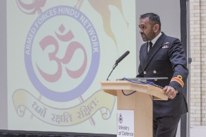 Pictured:Chairman of the Armed Forces Hindu Network, Surgeon Lieutenant Commander Manish Tayal