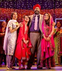 Natasha Jayetileke (Mrs Bhamra), Natalie Dew (Jess), Tony Jayawardena (Mr Bhamra) & Preeya Kalidas (Pinky) in Bend It Like Beckham The Musical