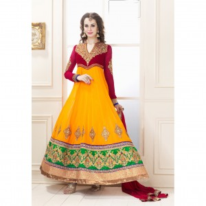 Yellow and Red Full Length Anarkali from yourshoppingkart.com