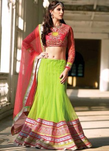 Red and green lehenga from omsara.co.uk