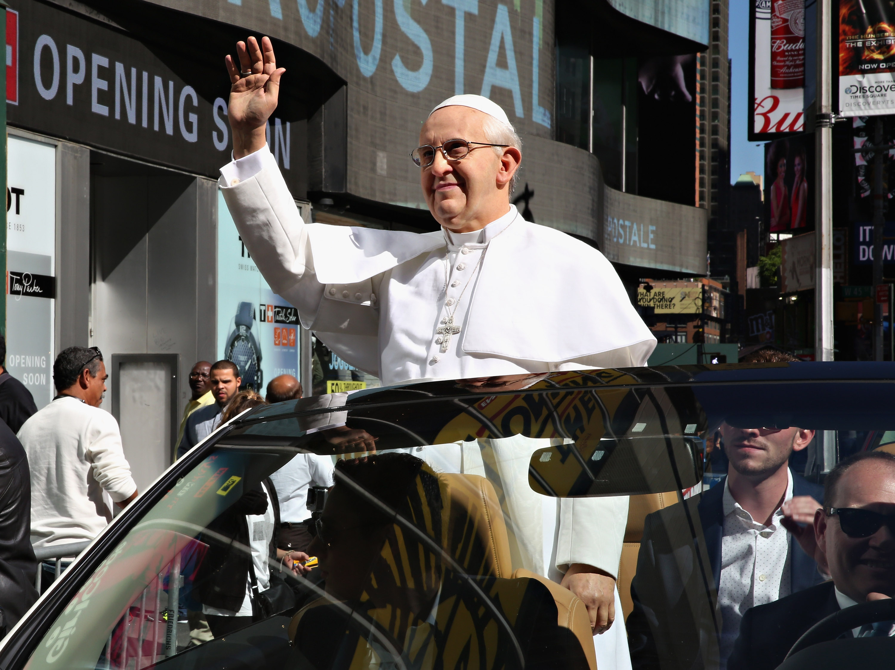 NEW YORK, NY - SEPTEMBER 24:  Madame Tussauds New York unveils a never-before-seen Pope Francis figure with a tour around New York City in a 'Pope Mobile' to celebrate the Pope's inaugural U.S. visit on September 24, 2015 in New York City.  (Photo by Cindy Ord/Getty Images for Madame Tussauds New York)