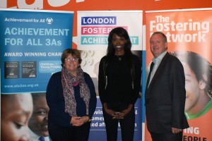Sonia Blandford CEO Achievement for All, Lorraine Pascale and Kevin Williams, CEO The Fostering Network
