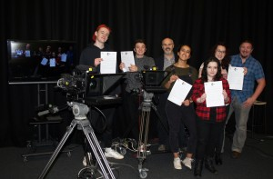 Students Henry Kurowski and James Lister, Nathan Kelly, Head of Faculty, Arts and Creative Industries, Students Sofia Ali, Abigail Woods, Eleanor Hodson and Lecturer Jason Beaumont