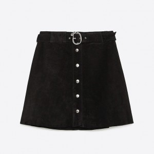 Zara Button Front Belted Skirt