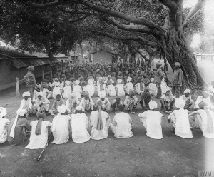 An Indian meal line at the Marine Lines Convalescent Camp.