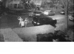 CCTV footage of Mr Hussain being attacked outside his house
