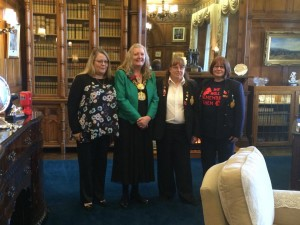 Cllr Joanne Dodds pictured with The Royal British Legion volunteers (L) Sharon Kershaw,  Barbara Allsopp and Larissa Lister,