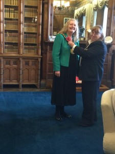 Cllr Joanne Dodds presented with first Poppy from Barbara Allsopp