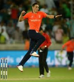 Chris Woakes celebrates the wicket of Shoaib Malik in the final T20 of the three match series.