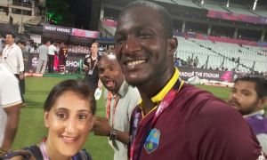 Halima with winning captain Darren Sammy