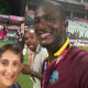 Winning captain Darren Sammy celebrating post match with Asian Sunday sports correspondent Halima Khan