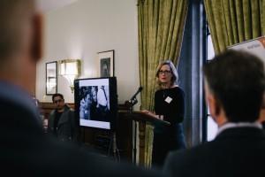 Natasha Little speaking on the Syrian refugee crisis