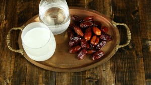 Iftar with dates and water