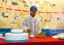 Nadiya Hussain, winner of The Great British Bake Off 2015, enjoying a KCB cake rusk during the 50 year celebrations
