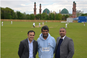 L-R: Nasser Hanif (Project Manager -FP2P), Taj Butt (Development Officer for Yorkshire Cricket Foundation), Mobeen Butt (Project Lead - FP2P) at Park Avenue Cricket Ground in Bradford.  [Image credit: AYA Foundation / Mobeen Butt]