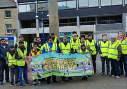 Young Muslim volunteers tidy up Huddersfield City Centre on New Year's Day